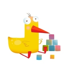 Kids Duck Playing Cubes Funny Toy vector image vector image