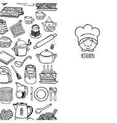 Kitchen utensils and appliance vertical banner vector image vector image