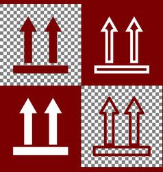 Logistic sign of arrows bordo and white vector