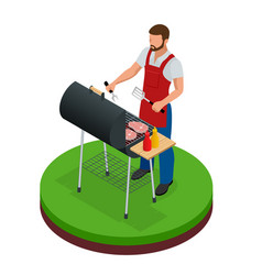 male preparing barbecue outdoors grill summer vector image vector image