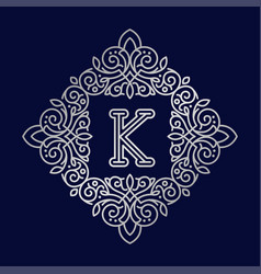 Monogram k bage logo text vector