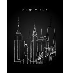 New york city skyline with chalk drawing vector