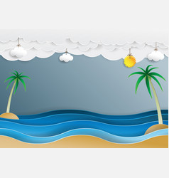 ocean wave and cloud paper cut style vector image vector image