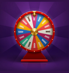 Realistic 3d spinning fortune wheel lucky vector