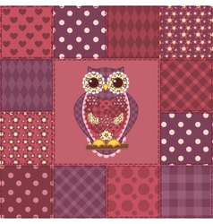 Seamless patchwork owl pattern 3 vector