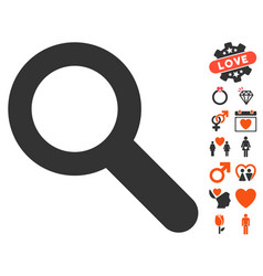 search icon with valentine bonus vector image