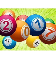 Twenty seventeen bingo lottery balls on green vector