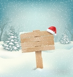 Winter Background with Wooden Signpost and Santa vector image