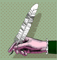 womans hand with a pen vector image vector image