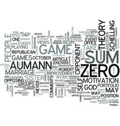 Zero sum games text word cloud concept vector