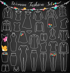 Woman fashion clothes silhouette on chalkboard vector