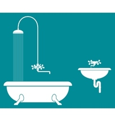 Old bathroom with shower and sink vector
