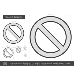 Blocked data line icon vector
