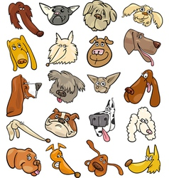 Cartoon funny dogs heads big set vector