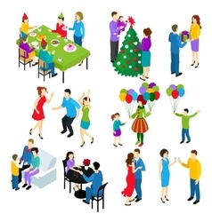 Isometric festive people set vector