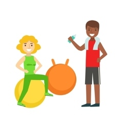 Woman doing exercise on ball with help of personal vector