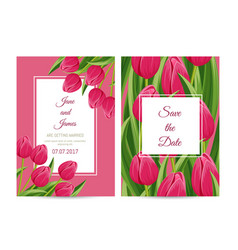 Floral wedding invitation with blooming tulip vector