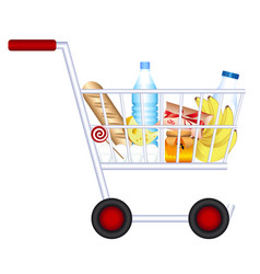 Grocery trolley products vector
