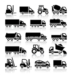 Set of truck black icons vector image