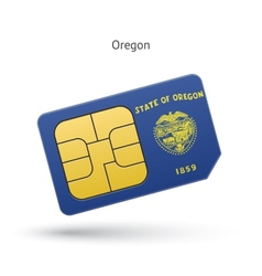 State of oregon phone sim card with flag vector