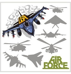 Air force - silhouettes planes and helicopters vector