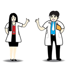 Doctor man and doctor woman vector image