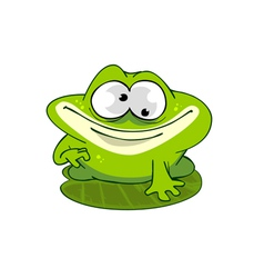 Cartoon frog on a leaf vector