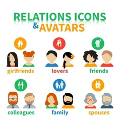 Bright icons and avatars social relations vector