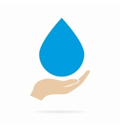 Water drop in hand logo or icon vector