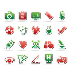Medical tools and health care equipment icons vector