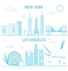 New york and los angeles skyline in vector