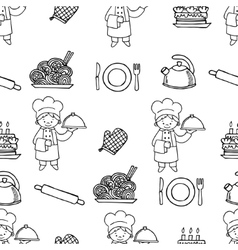 Cook white and black seamless pattern vector