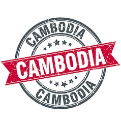 Cambodia red round grunge vintage ribbon stamp vector