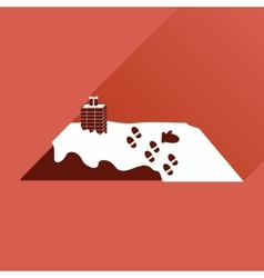 Flat icon with long shadow roof in the snow vector
