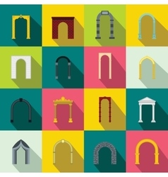 Arch set icons flat style vector
