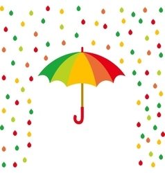Umbrella and rain drops of color vector