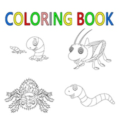 Coloring book with insect collection vector