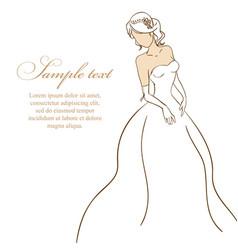 Bride in white dress vector