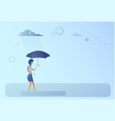 Business woman hold umbrella stand rain protection vector