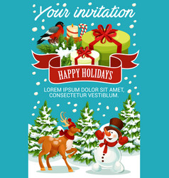 Christmas and new year party invitation template vector