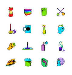 Cleaning comics icons set cartoon vector
