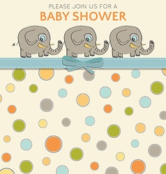 Delicate baby shower card with little elephants vector image vector image