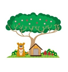 Dog and house under the tree vector