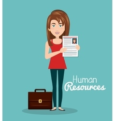girl portfolio cv human resources vector image