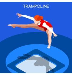 Gymnastics trampolining 2016 summer games 3d vector
