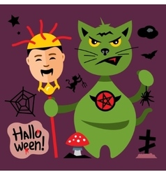 Halloween cat in graveyard cartoon vector