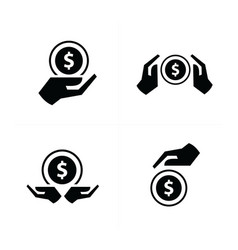 hand and coins set vector image vector image