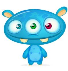 Happy cartoon blue monster vector