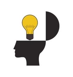 human head and lightbulb idea icon vector image