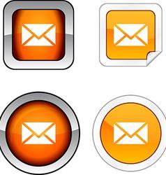 Mail button set vector